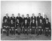 President Guillermo León Valencia with his ministers. Virgilio Barco, Minister of Agriculture, standing third from left to right. Salón Bolivar, San Carlos Presidential House, 20/07/1964. Foto:S.I.