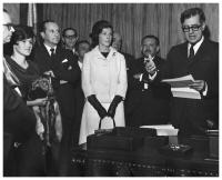 Carolina de Barco accompanies her husband, Virgilio Barco, as he is sworn in as mayor of the city of Bogotá, September, 1966.