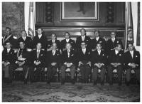President Alberto Lleras Camargo with his ministers. Virgilio Barco, Minister of Public Works, standing, third from left to right. Salon Bolivar, San Carlos Presidential House, 07/08/1958.