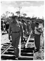 Virgilio Barco, Minister of Public Works during the Presidency of Alberto Lleras, supervising the construction of a stretch of the railroad tracks of the Atlantic Railway. Photo: S.I., S.F.
