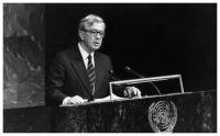 President Barco addresses the General Assembly of the United Nations, New York, 29/09/1989. Photo: S.I.