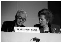 Virgilio Barco, President of Colombia, with British Prime Minister Margaret Thatcher at the World Ministerial Drugs Summit in London, May 9-11, 1990. Photo: S.I