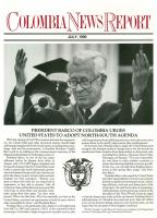 Front page of the Colombian News Report. President Barco speaks at the MIT commencement ceremony, Boston. 04/06/1990.  Photo, S.I.